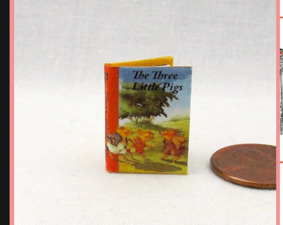 The THREE LITTLE PIGS Pdf Tutorial Printable Download 1:12 Miniature Dollhouse Scale Readable Illustrated Book Once Upon a Time Fairy Tale