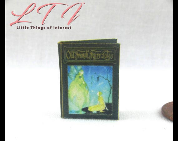 OLD FRENCH Fairy Tales Book PDF Tutorial Printie Printable Download Dollhouse 1:12 Miniature  Scale Book Accessory Once Upon a Time