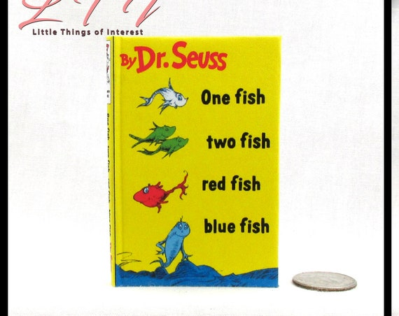 ONE FISH Two FISH Book 1:3 Scale Readable Illustrated Book American Girl Dr Seuss 18 inch Ag Doll Scale