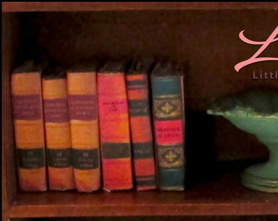 6 OLD LEGAL BOOKS Set of 6 Miniature Books Dollhouse 1:12 Scale Prop Books Fill A Bookcase Faux Books Legal Attorney Lawyer Paralegal Judge