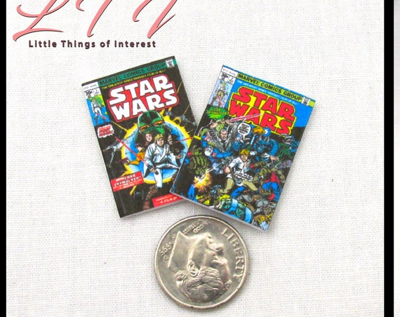 "2 STAR WARS Comic Books Dollhouse Miniatures Readable Comic 1:12 Scale 1"" Scale ** 2 For 1 ** Jedi Sith Yoda Obi-Wan Kenobi C-3PO Chewbacca"
