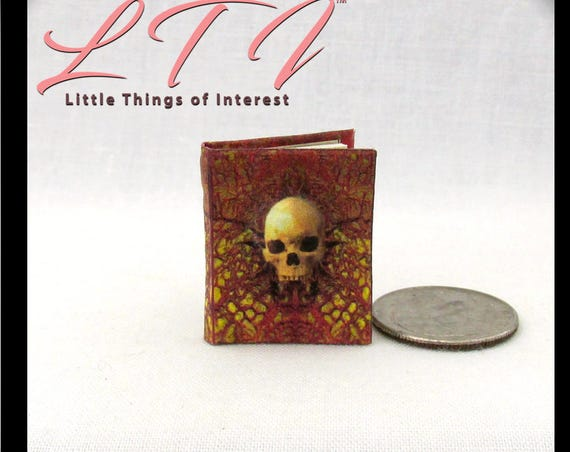 MANUAL Of SPELLS And ALCHEMY Miniature Book Dollhouse 1:12 Scale Illustrated Readable Dimensional Skull Wizard Witch Fortune Teller Potter