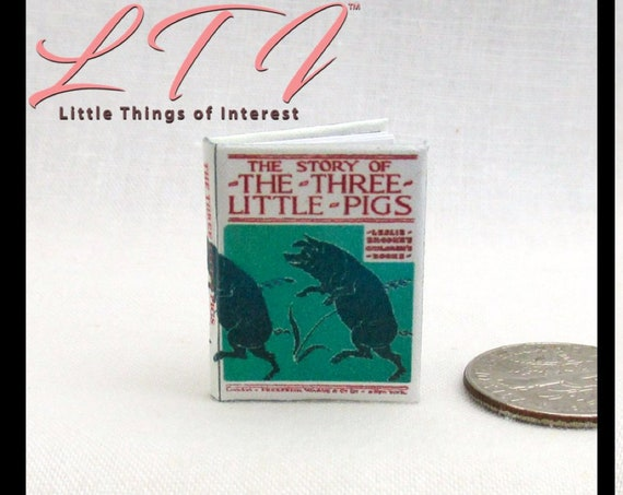 Vintage The THREE LITTLE PIGS Miniature Book Dollhouse 1:12 Scale Readable Illustrated Book Children's Book Leslie Brooke's 1935