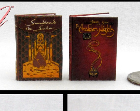 """The ARABIAN NIGHTS And SINBAD The Sailor Set (2) Illustrated Readable Books 1:12 Scale Dollhouse Miniature Books 1"""" Scale Children"""