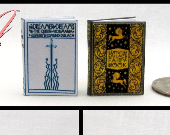 """FAIRY TALES Set (2)Beautifully Illustrated By Dulac Readable Books 1:12 Scale Dollhouse Miniature Books 1"""" Scale #miniaturebooks Children's"""