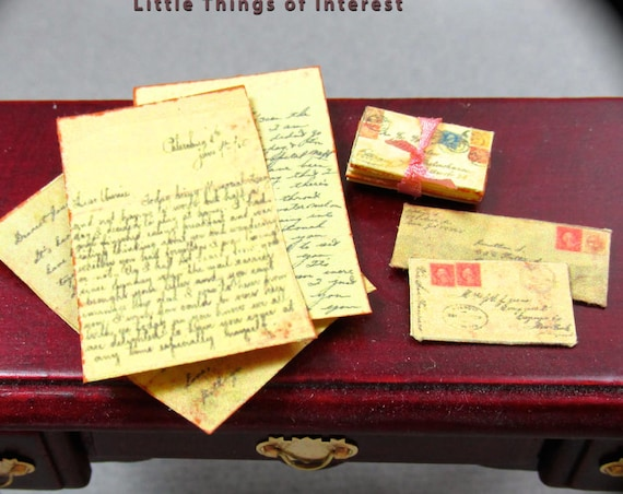 VINTAGE LOVE LETTERS Dollhouse 1:6 Scale Vintage Victorian Post Mail Play Scale Victorian 6th Scale Envelopes Write Letter