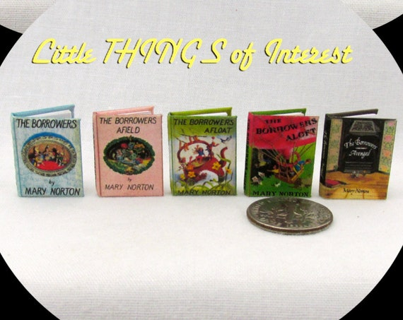 THE BORROWERS Miniature Books Set (5) Dollhouse 1:12 Scale Illustrated Books Children's Book