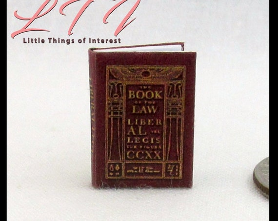 "LIBER AL Vel Legis Book of the Law Miniature Dollhouse Book 1:12 Scale 1"" Scale Readable Book Sacred Text of Thelema"