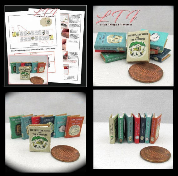 S LEWIS NARNIA THE WITCH AND THE WARDROBE 1:12 Scale Miniature Book C LION