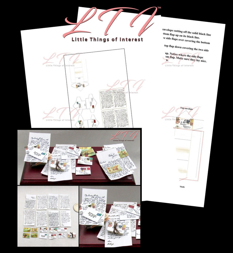 ENVELOPES /& POSTCARDS 1:12 Scale Post Mail Postcard Desk Love Letters Printable Pdf Instant Digital Download Miniature Dollhouse LETTERS