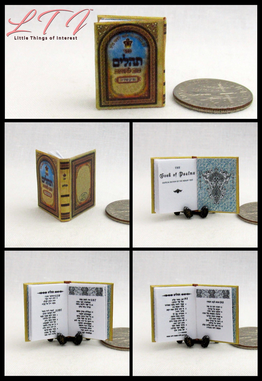 The JEWISH HEBREW Book of PSALMS Miniature Book Dollhouse 1