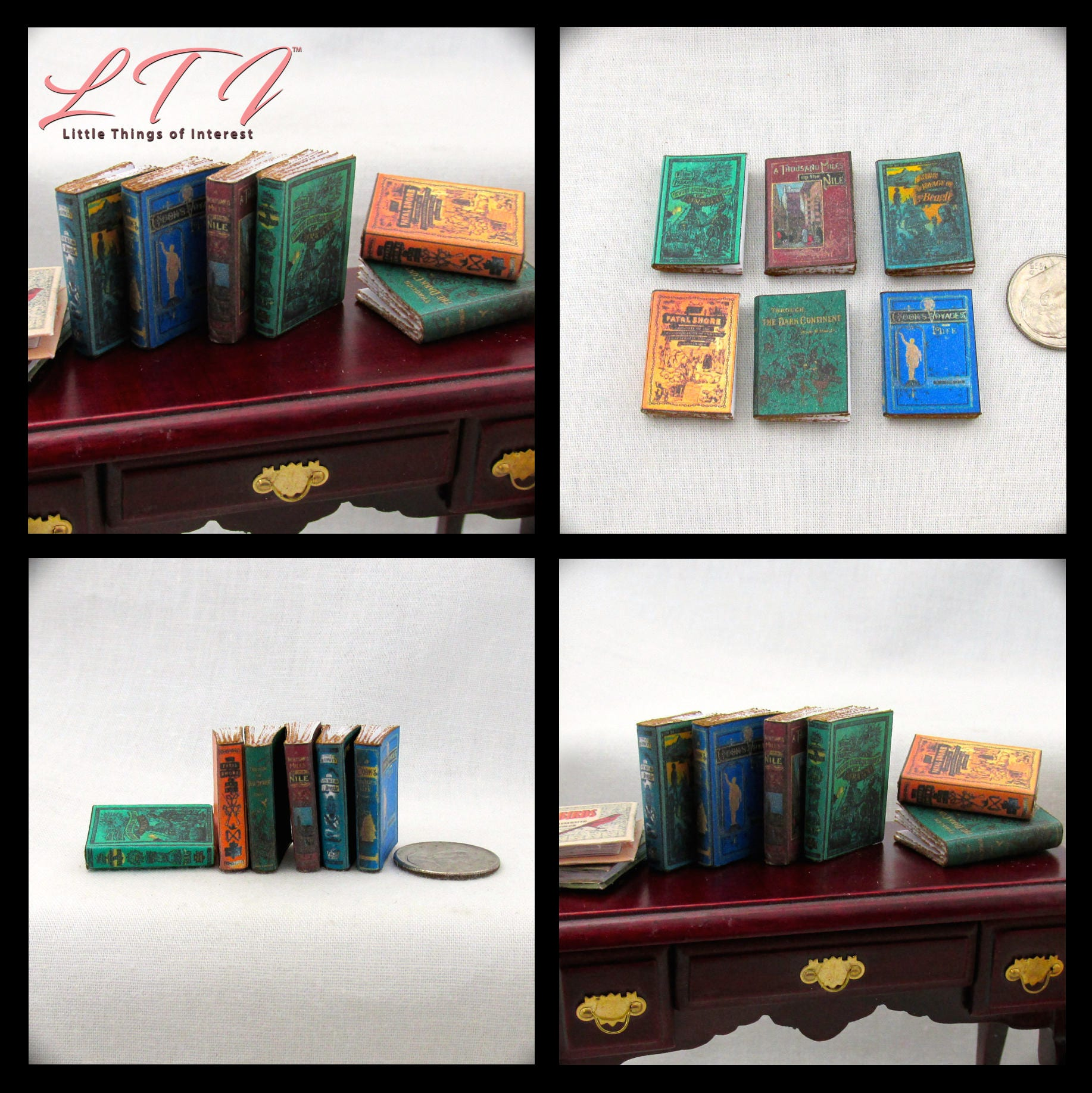 6 GREAT EXPLORERS Miniature Dollhouse Books 112 Scale Faux Prop Fill Bookshelf Travel World Traveling Library