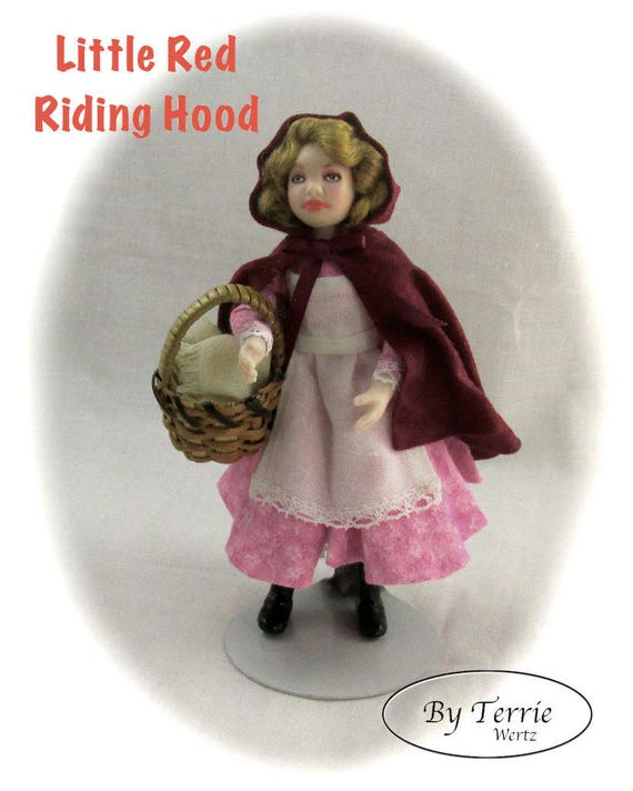 Dollhouse Doll Girl Little Red Riding Hood Doll Pattern and Instructions PDF Miniature 1:12 Scale Instant Download (Beginner) Wolf Grandma