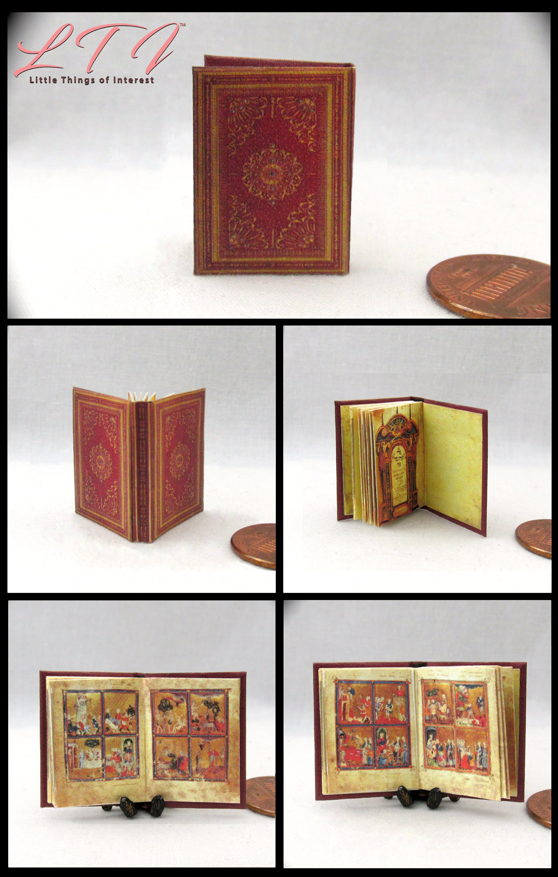 HEBREW GOLDEN HAGGADAH Miniature Book Dollhouse 1:12 Scale Illustrated Book