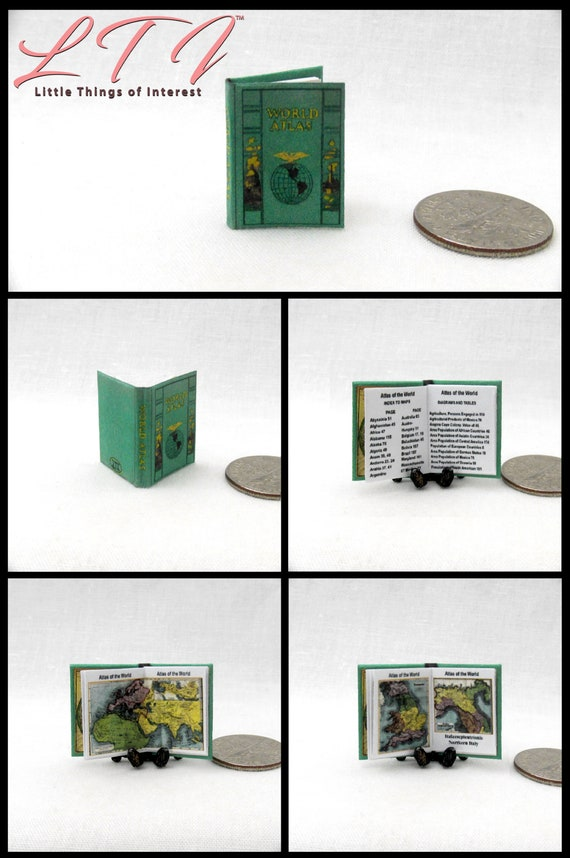 Miniature Illustrated World Atlas Coffee Table Book for DOLLHOUSE 1:12 Scale