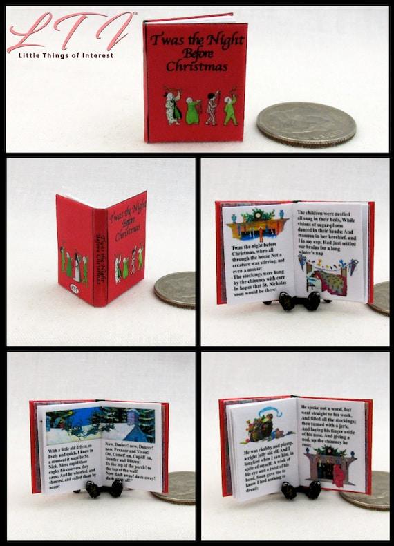 Miniature dollhouse twas night before Christmas Santa Rudolph book Barbie 1//12