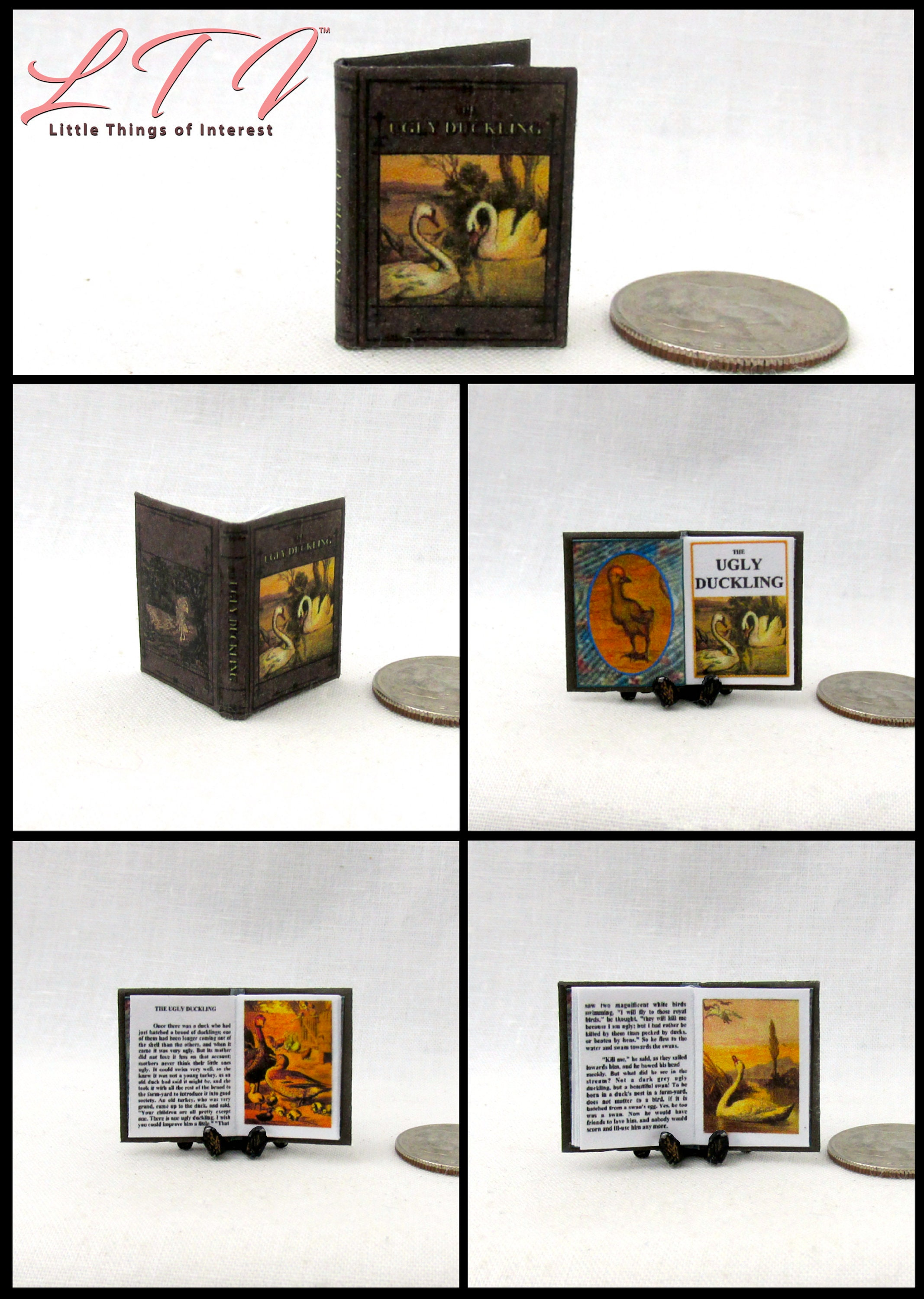ILLUSTRATED GRIMM/'S FAIRY TALES Miniature Book Dollhouse 1:12 Scale READABLE