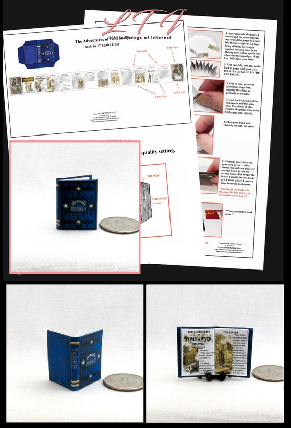 1:6 SCALE MINIATURE BOOK TOM SAWYER ILLUSTRATED MARK TWAIN PLAYSCALE