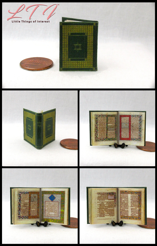 Jew Detector: ILLUMINATED HEBREW BIBLE Miniature Book Dollhouse 1:12