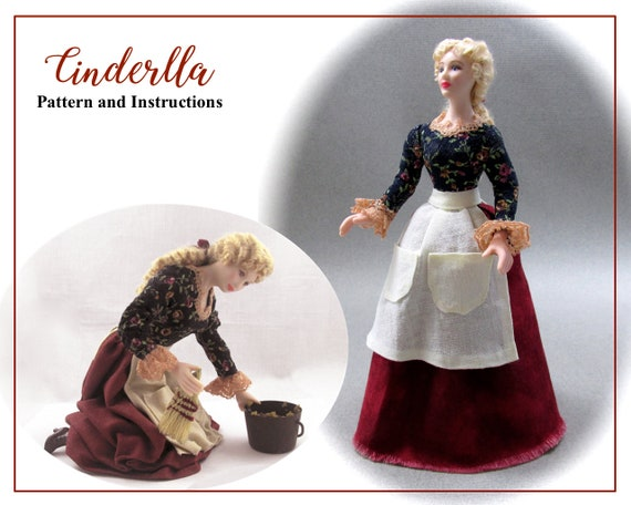 Dollhouse Doll CINDERELLA Doll Pattern Instructions PDF Dressing Miniature 1:12 Scale Instant Download Disney Princess Mother (Beginner)