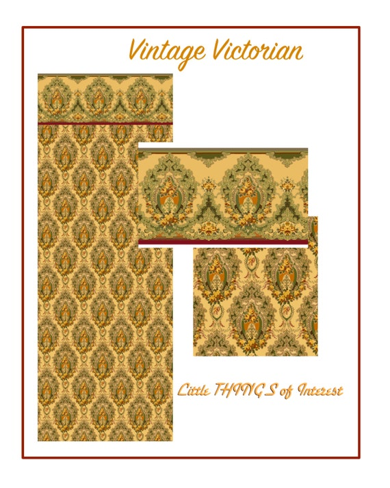 Dollhouse Doll 1:12 Scale Dollhouse Wallpaper VINTAGE VICTORIAN Miniature Wallpaper Gold Green Download