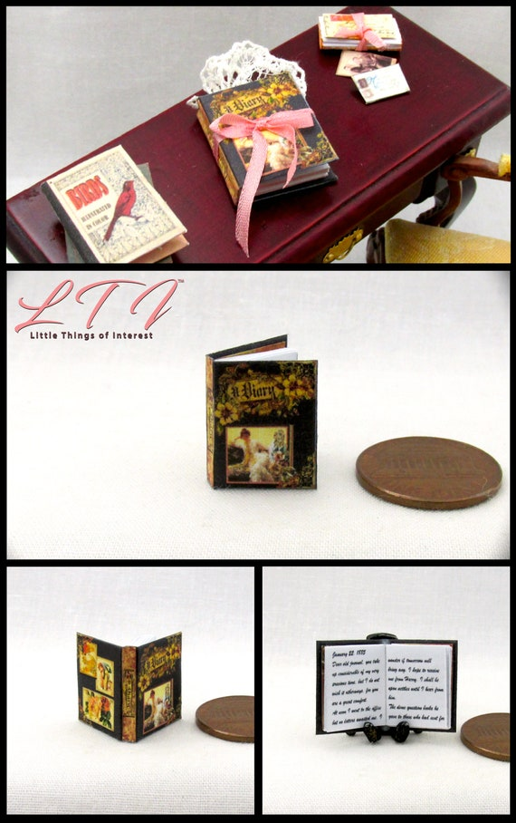 ANNE FRANK DIARY OF A YOUNG GIRL Miniature Book Dollhouse 1:12 Scale Readable