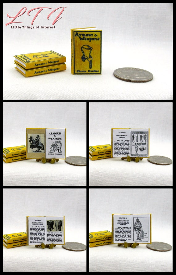 ARMOUR AND WEAPONS Miniature Dollhouse Book 1:12 Scale Illustrated Readable
