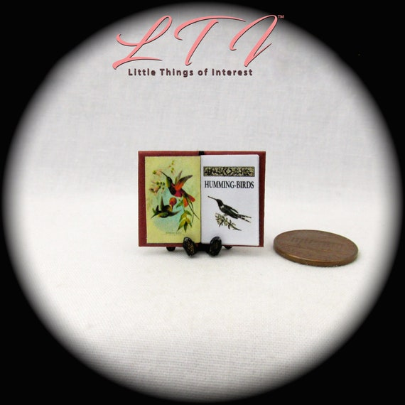HUMMING BIRDS Miniature Book Dollhouse 1:12 Scale Readable Illustrated Book