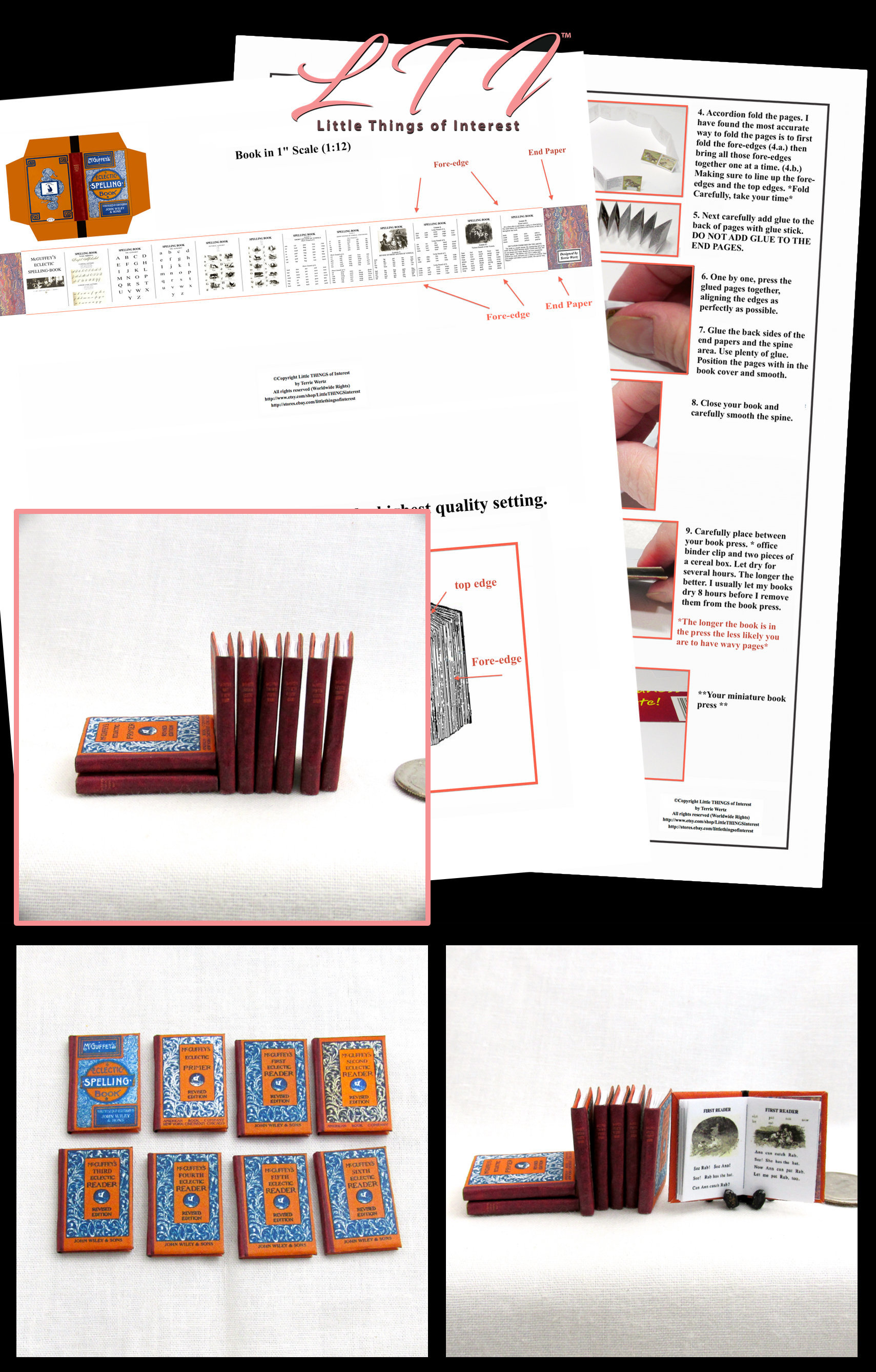 image regarding Miniature Books Printable named McGUFFEY Guests 8 Dollhouse Miniature Guides 1:12 Finish Established