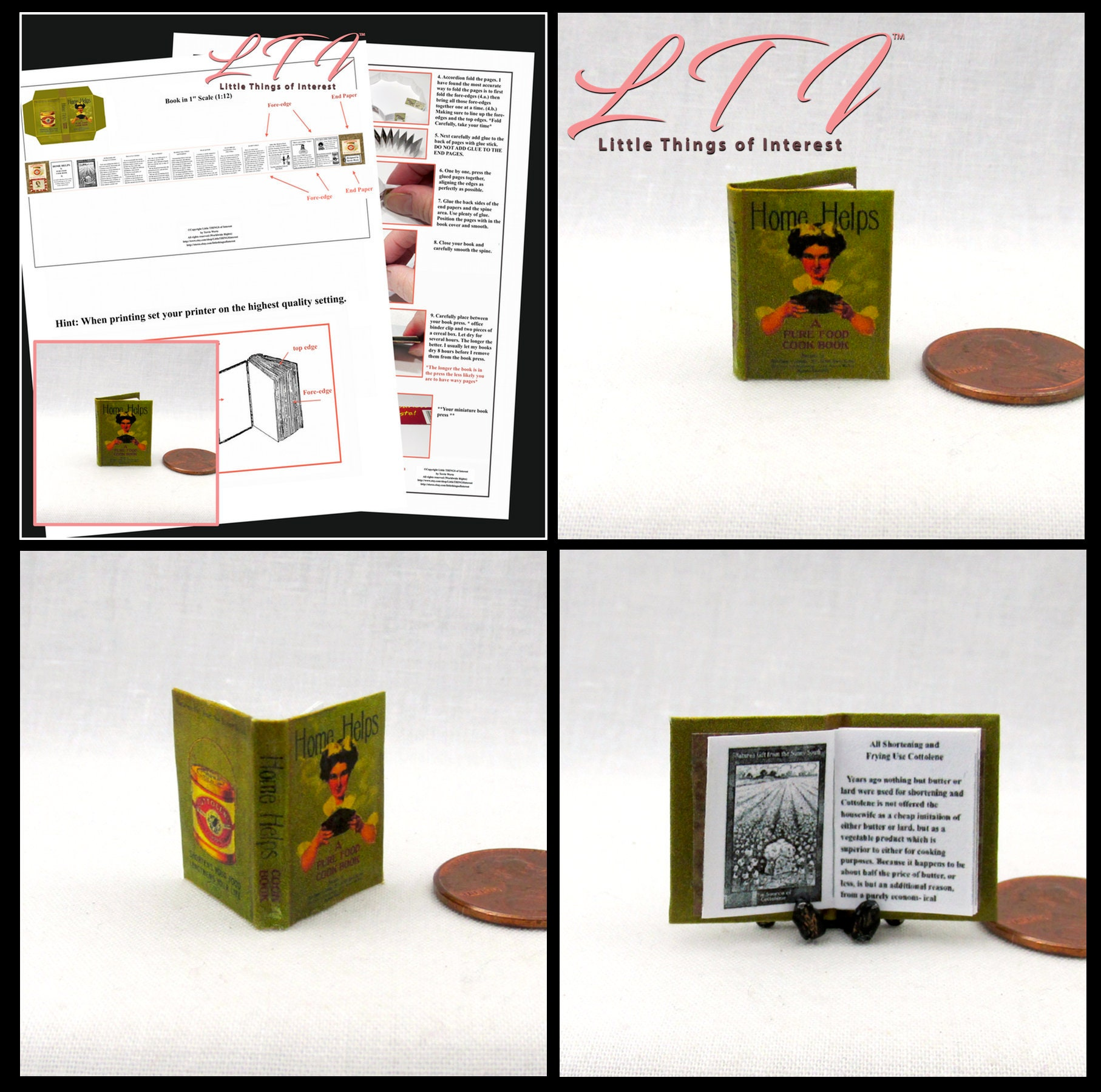 Home Helps Cookbook Downloadable 1 12 Miniature Dollhouse Scale Book