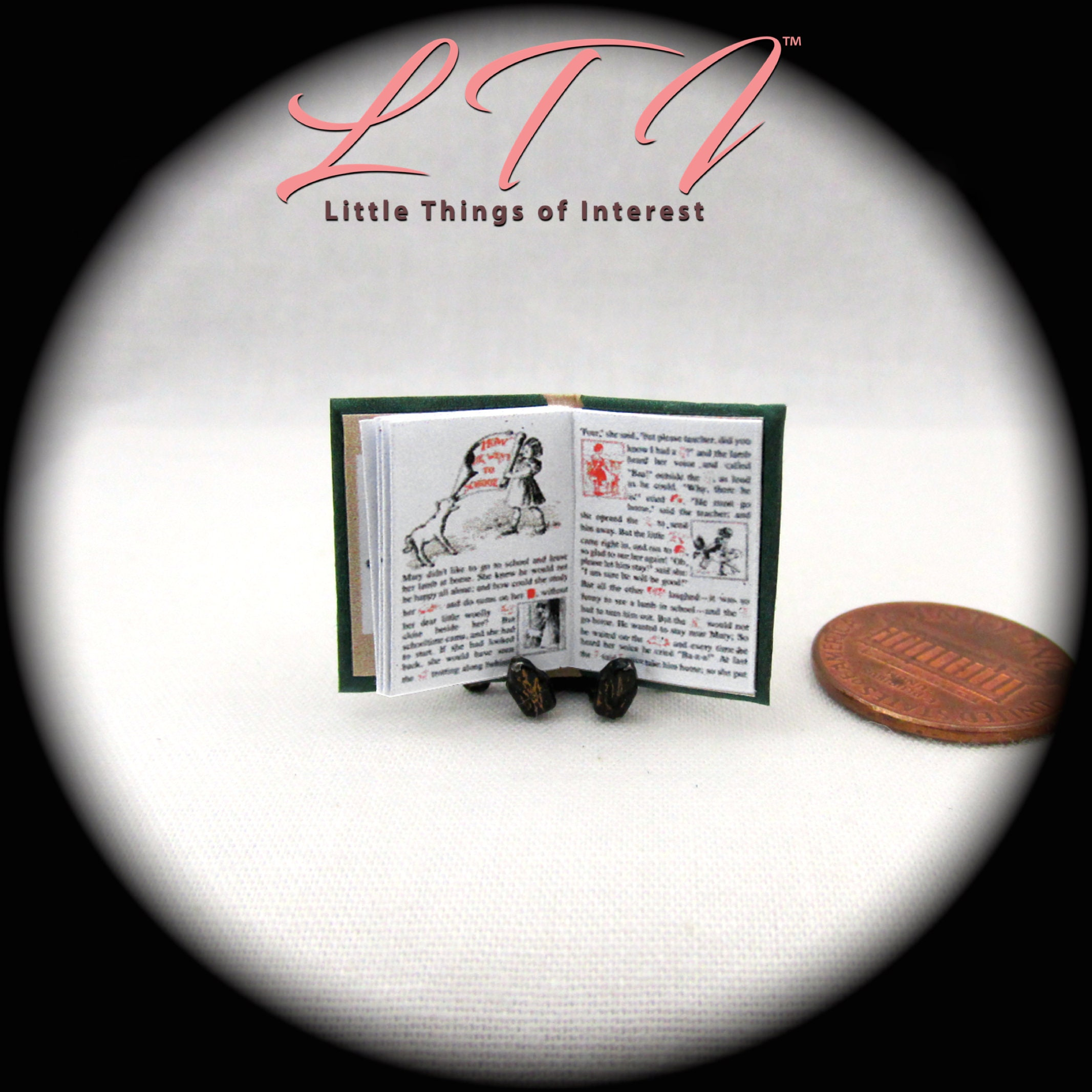Whose Nursery Is That: MARY'S LITTLE LAMB Miniature Book Dollhouse 1:12 Scale
