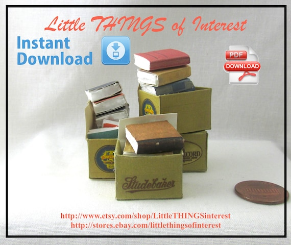 Dollhouse Doll OLD Miniature BOOKS in a BOX Tutorial and Print Dollhouse 1:12 Scale Miniature 3 Download