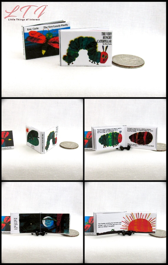 The VERY HUNGRY CATERPILLAR Illustrated Miniature Dollhouse 1:12 Scale Readable Book Children's Book bug