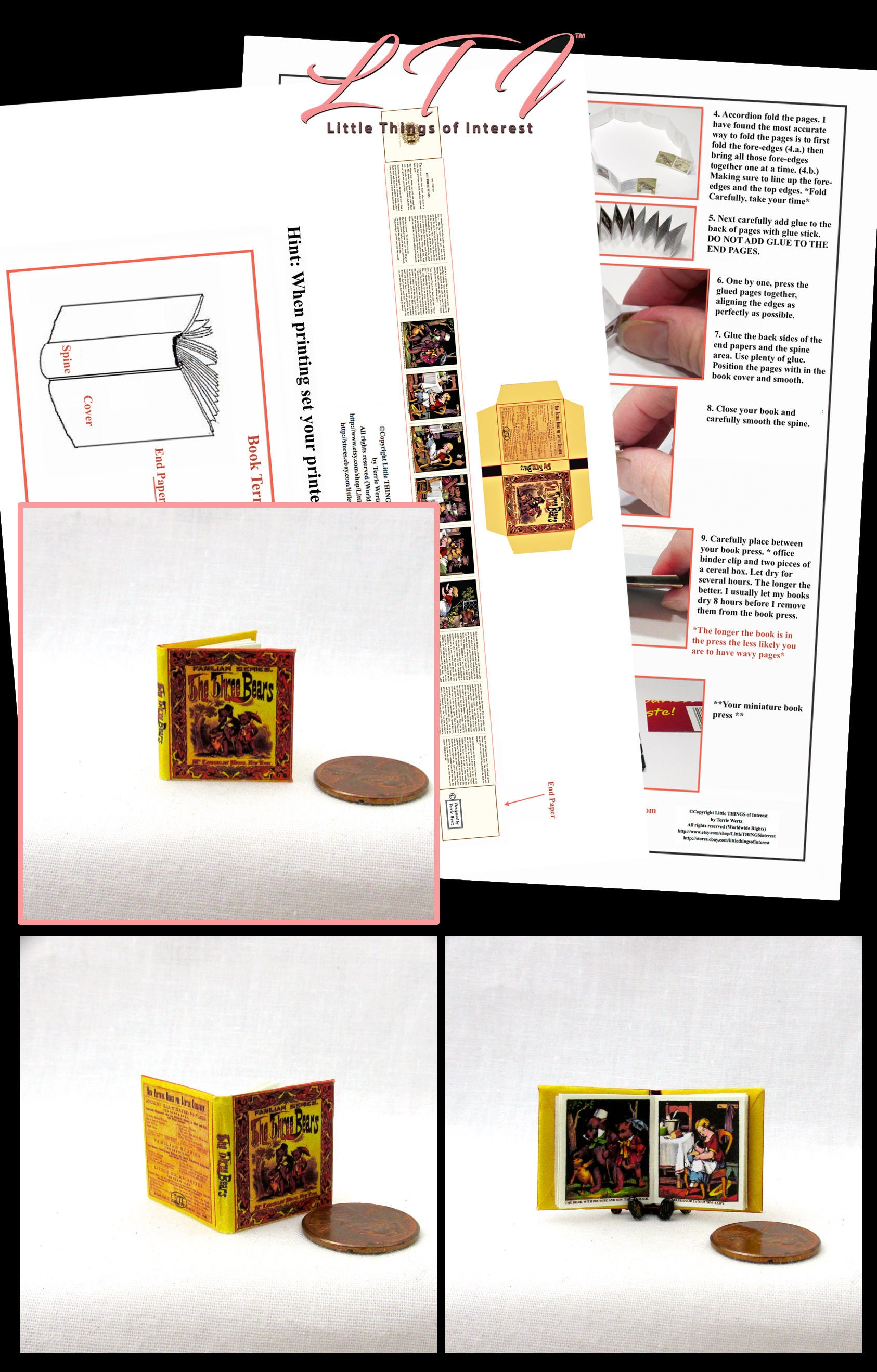 photo relating to Miniature Books Printable titled The A few BEARS Dollhouse Miniature E-book 12th Scale Openable