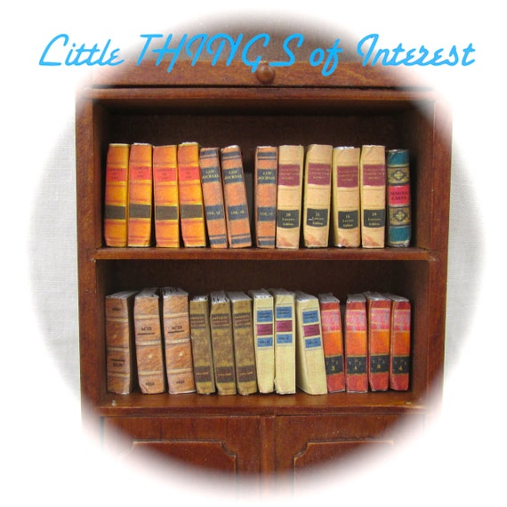 25 LAW LIBRARY Old Books Miniature Dollhouse Scale 1:12 Scale Prop Books Fill a Bookshelf Faux Books