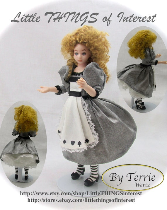 Dollhouse Doll ALICE in WONDERLAND Doll Pattern Instructions PDF Dressing Miniature 1:12 Scale Instant Download White Rabbit (Intermediate)