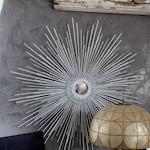 """Starburst Mirror, Sunburst Mirror 35"""" Color Options #1015 handmade mirror, atomic starburst, art deco mirror, silver, gold"""