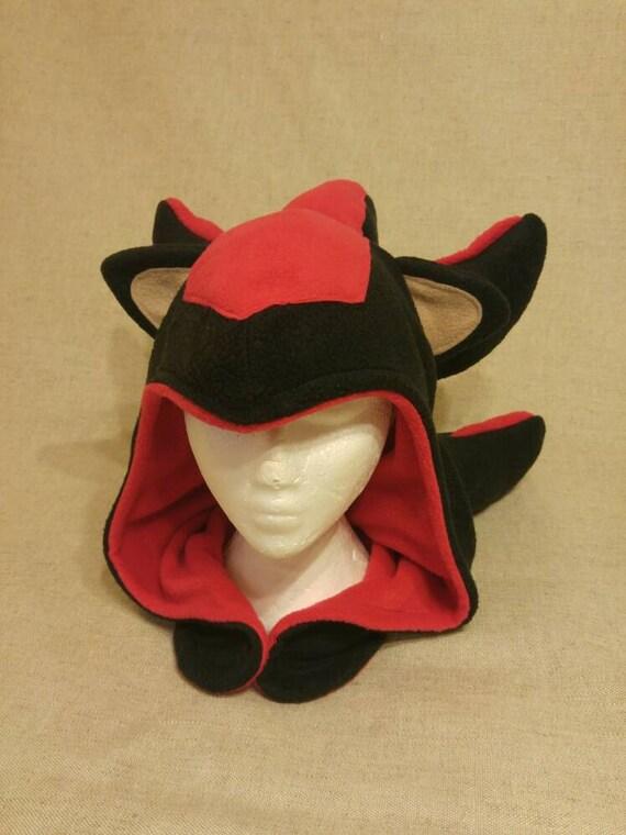 7ba014a7261 Shadow the Hedgehog Inspired Hood Handmade Fleece Sonic Hat