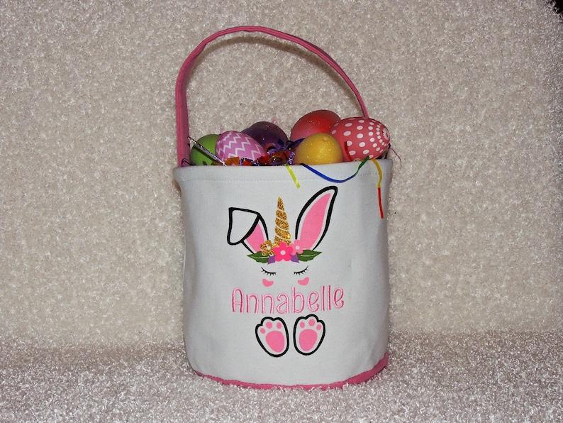 Monogrammed Unicorn Easter Basket. Personalized Unicorn Bunny Easter Basket (madebygrannyshands)