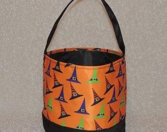 10% OFF Halloween bag,  Halloween bucket,  Witch Hat, Halloween treat or trick bag, Sand bucket,  gift tote, FREE MONOGRAMMING
