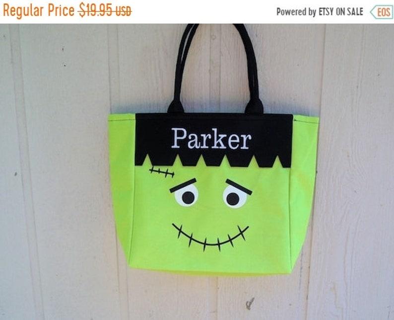 10% OFF Trick or Treat bag Frankenstein Halloween bag image 1