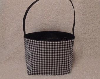 10% OFF Halloween bucket, Halloween tote, TOP SELLER, Black Gingham Bucket, Trick or treat bag