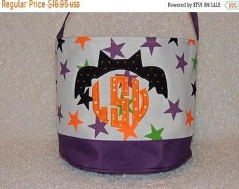 10% OFF Monogrammed Halloween bag,  Halloween bucket, Beach tote, treat or trick bag, Sand bucket, baby gift