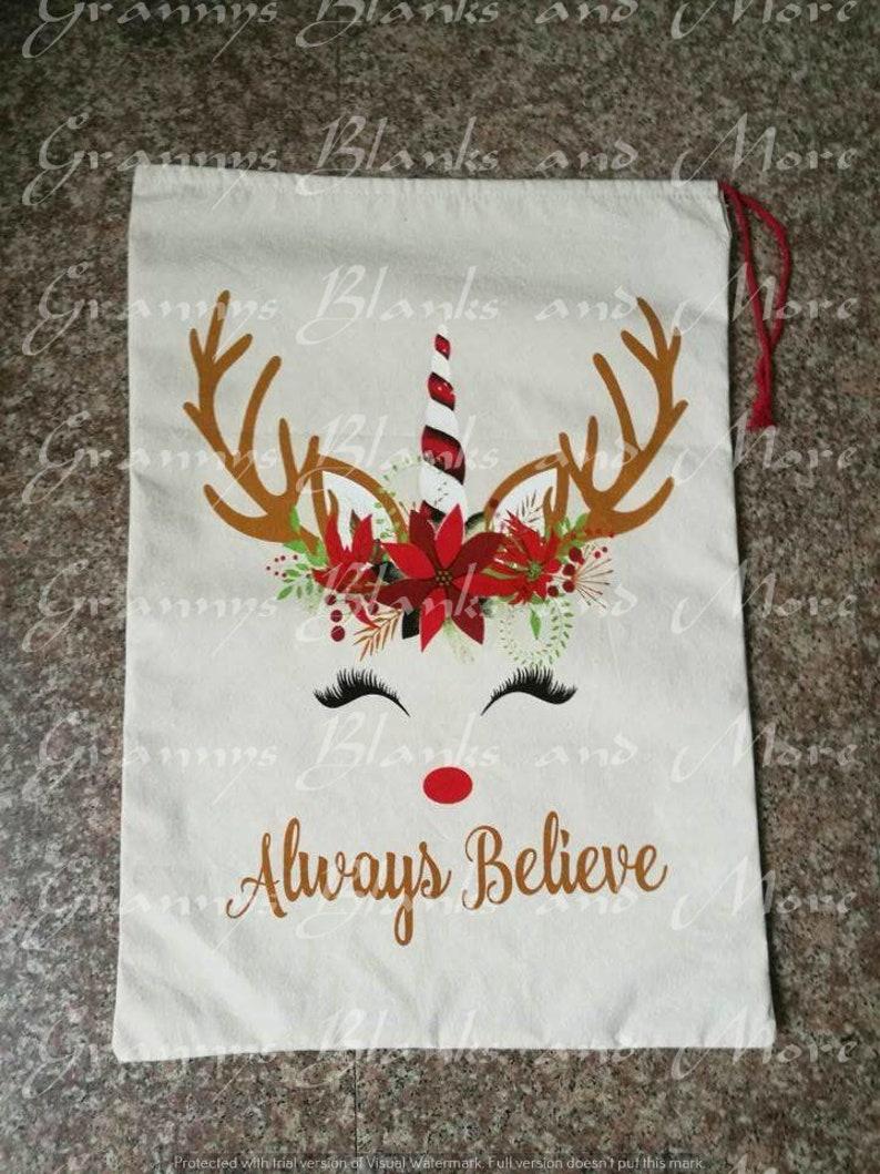 Santa  present sacks Santa Sack Christmas gift sacks Santa bag Santa Bag Unicorn Sack
