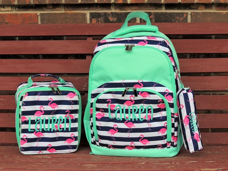 Flamingo Backpack Lunch Box Monogrammed backpack back pack image 0