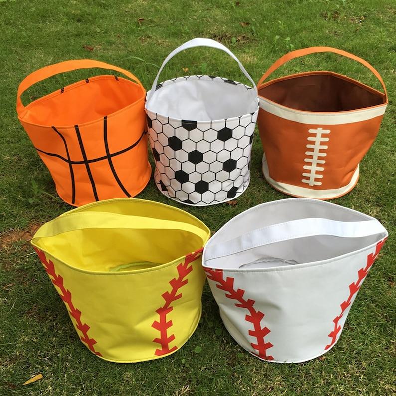 treat or trick bag Easter bucket Beach tote Football TOP SELLER Sand bucket Monogrammed Halloween bag