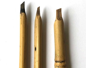 Bamboo Reed Pen or Qalam, Slanted Cut (3 to 7mm)