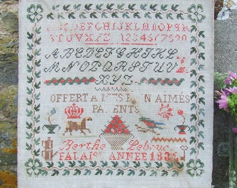 Antique French Sampler, LARGE Sampler, Cross Stitch, 1830s Falaise, Original, Two Alphabets and Pictures