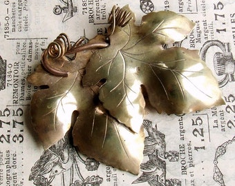 Vintage French Brass and Copper Vine Leaves Brooch, Grapevine Brooch Pin, Scarf Pin