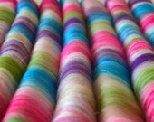 Sweet Rolls - Rolags hand blended for spinning - 1 oz increments - quot Christmas in Candyland quot